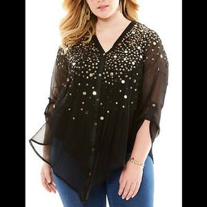 Guilted Gold sequin button down plus size top  18w